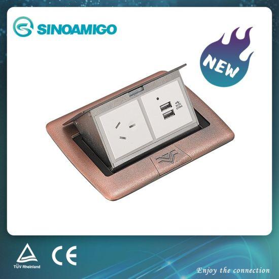 Zinc Alloy Pop up Raised Waterproof Electrical Floor Outlet Socket Box