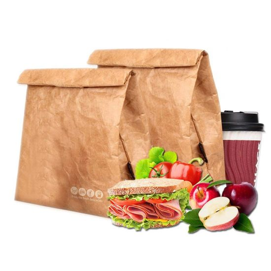 Eco Waterproof Reusable Wholesale Insulated Thermal Brown Paper Tyvek Cooler Lunch Bag