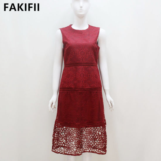 2021 New Design Lady Fashion Red Embroidery Party Women Dress