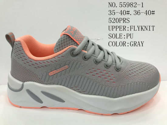 PU Outsole Flyknit Upper material Lady Leisure Stock Shoes