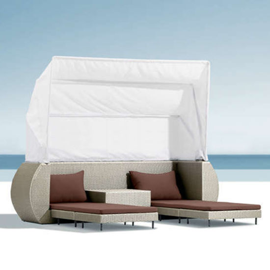 Outdoor Patio Beach Furniture Sunbed Daybed Rattan Deck Chair Lying Bed with Tent pictures & photos