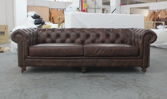Chesterfield 3 Seater Sofa Clic Italian Leather Td 01