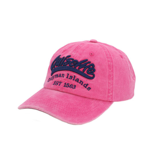 Pink Wholesale Washed Cotton Baseball Hats with 3D Embroidery Logo pictures & photos