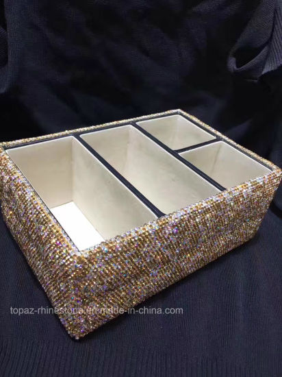 Full Diamond Crystal Cover Storage Box Bling Bling Rhinestone Container Storage Box for Make up (TBB-rectangle 023) pictures & photos