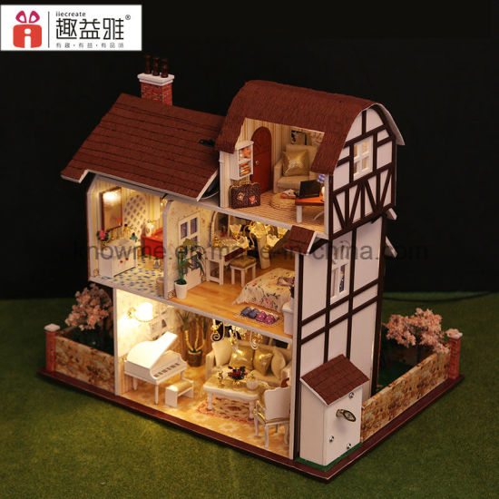 China Handemade Wooden Toy Diy Dollhouse Flower Town China Wooden