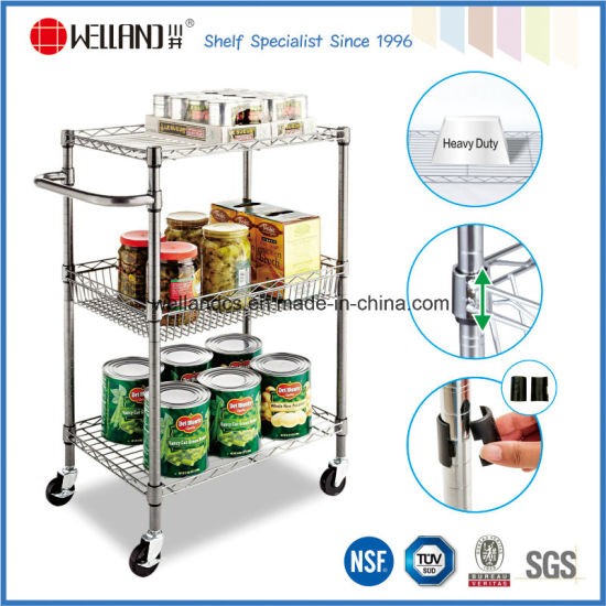NSF Chrome Metal Wire Kitchen Food Storage Cart Trolley pictures & photos