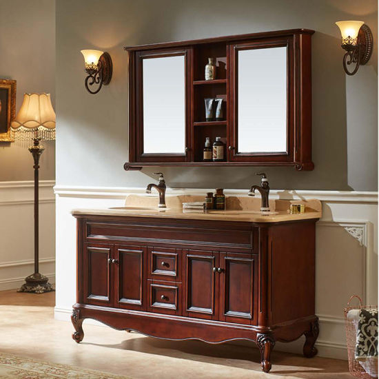 China Rustic Style Bathroom Furniture Double Vanity Cabinet Gsp14