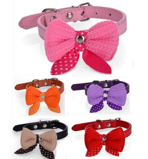 OEM PU Dog Collar with Bow-Tie for Promotional Gift pictures & photos