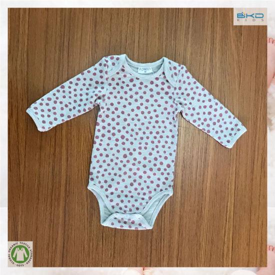 Soft Organic Baby Garment Dots Printing Baby Bodysuits