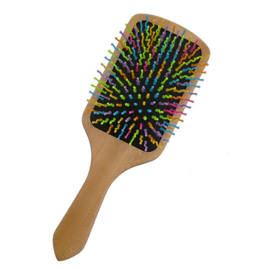 Wood Square Paddle Hair Brush with Colorful Rainbow Nylon Pins, Good Massage and Anti Static Detangling Hair Brush, Natural Wooden Hair Brush