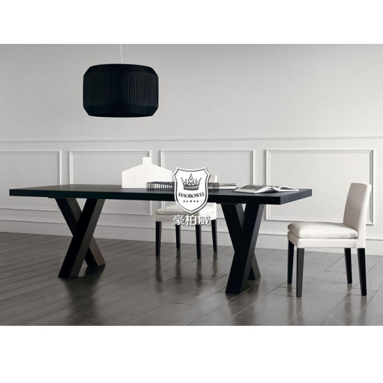 China Black Oak Wood Hotel Dining Table And Chairs For 6 8 People