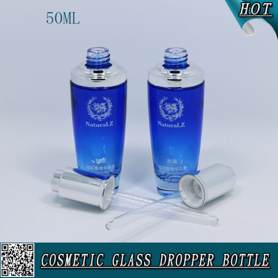 50ml Blue Color Spraying Glass Essential Oil Bottle Glass Dropper Bottle pictures & photos