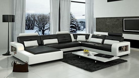 European Modern Italian Leather Sofa With Corner (HC1080)