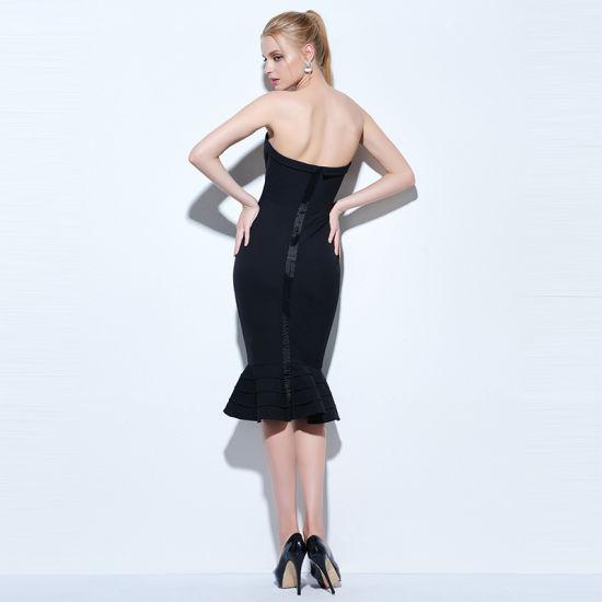 China Strapless Cocktail Dress Black Knee Length Sleeveless Mermaid
