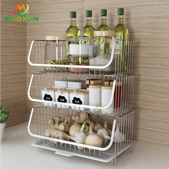 China 3 Tier Metal Wire Stackable Vegetable Fruit Storage Baskets Kitchen Rolling Organizer Bins Rack China Stackable Basket And Fruit Baskets Price