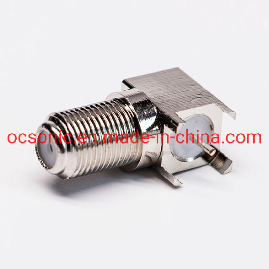 90 Degree Bulkhead Coaxial F Type PCB Mount Connector Right Angle