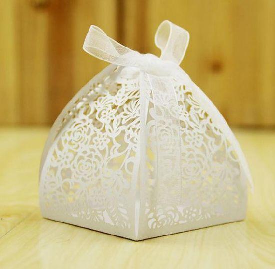 Wedding Decoration Chocolate Box Candy Hollow Ribbon Laser Cutting Gift