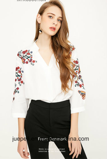 New Fashion Womens Retro Embroidery Floral White Blouse Shirt Tops