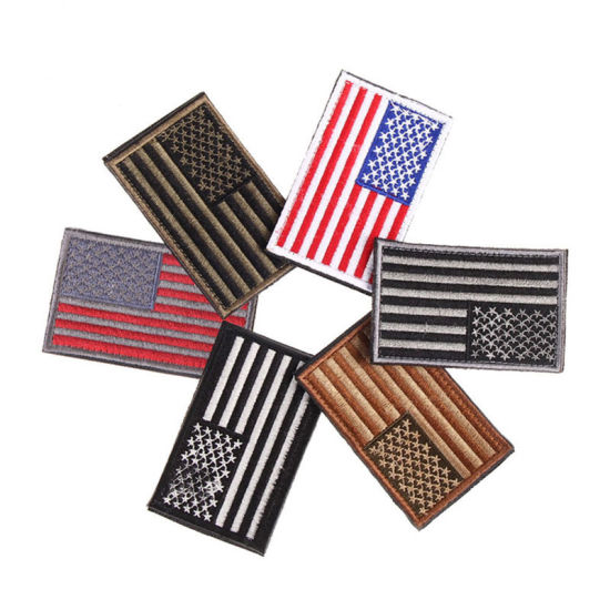 China Cheap Wholesale USA Flag Embroidered Patch Custom Iron