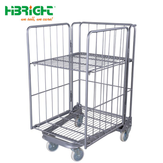 Warehouse Storage Wire Rolling Cage Trolley Cart pictures & photos