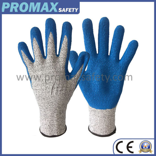 13G Chineema Knitted Anti Cut Resistant Gloves with Blue Crinkle Latex Palm Coated