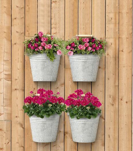 China Aged Galvanized Half Round Wall Buckets Flower Pot Planter
