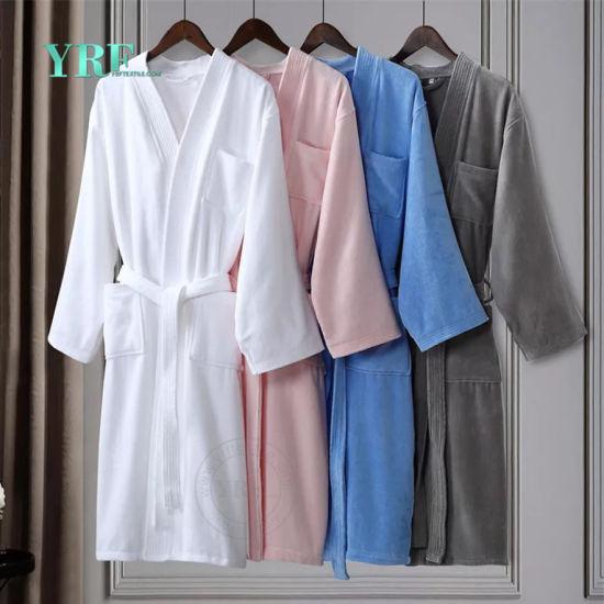 Wholesale High-Class Soft White Luxury Velour Hotel Bathrobe