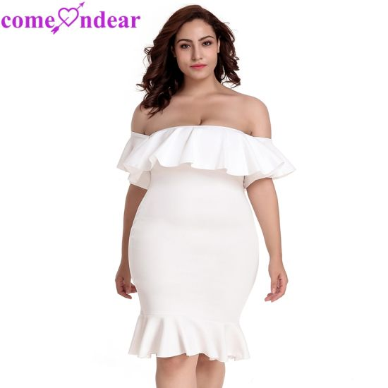 Wholesale off-Shoulder Ruffle Bodycon White Ladies Summer Dresses pictures & photos