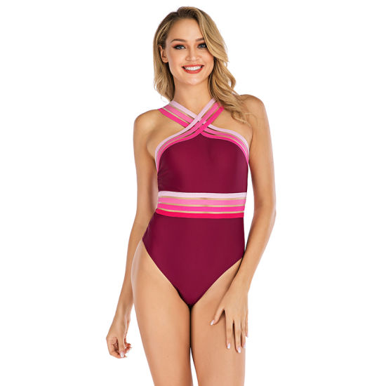 Wholesale 2021 Sexy Women Swimwear High Cut High Neck Elastic Band One Piece Swimsuit