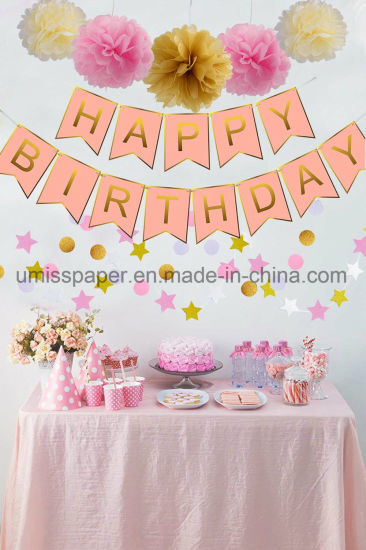 Umiss Paper Happy Birthday Banner For Wedding Christmas Decorations Factory Supplier