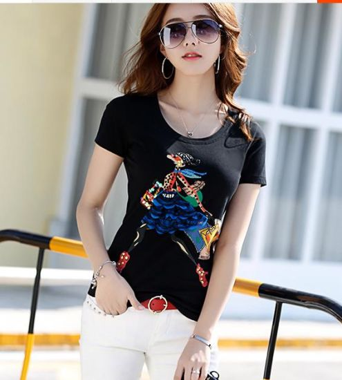 Custom Fashion Clothing Cotton/Polyester Designed Embroidery Cloths Students Women's T Shirt