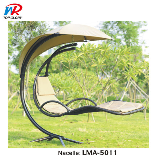 Outdoor Metal Chaise Garden Rattan Lounge Hanging Patio Wicker Swing Chair