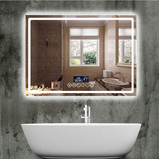 Factory Wholesaler LED Intelligent Bathroom Mirror Rectangle Wall-Mounted Backlit Makeup Mirror with 3000-6500K Dimmable