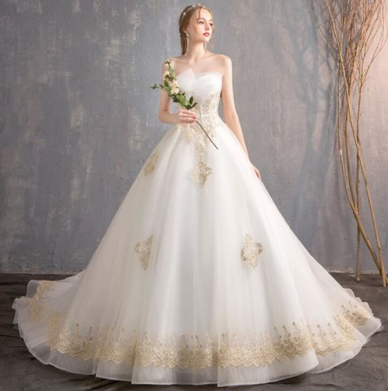 High Quality Hepburn Bridal Gown Empire Lace Lady Wedding Dress