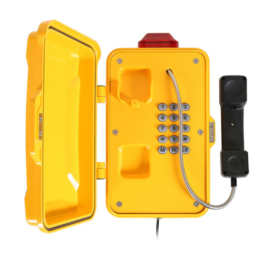 Weatherproof Industrial Tunnel Telephone with LED Lamp