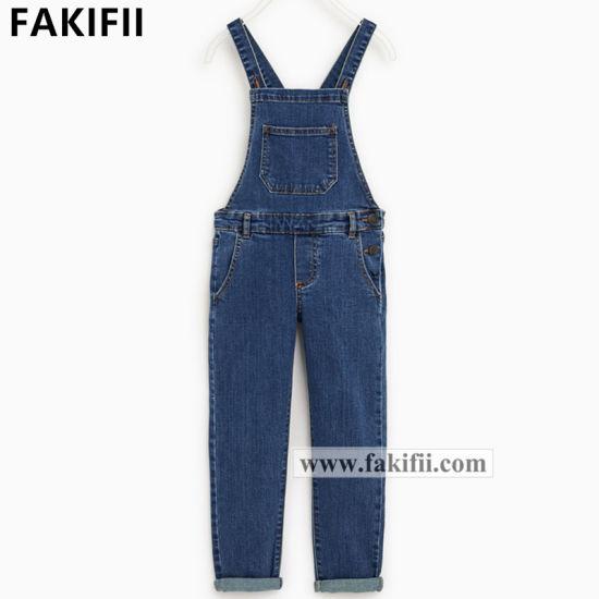 High End Wholesale Children Apparel Girls Jeans Wear Denim Jumpsuits