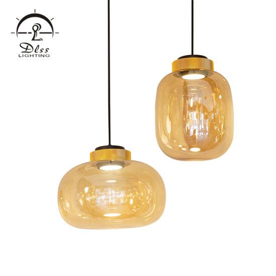Guzhen Lighting Gourd Glass LED Metal Holder Dining Pendant Lighting