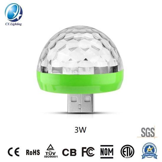 USB RGB Magic Ball Music Sound Control Mini LED Stage Light 3W 5V Hot Sale IP44