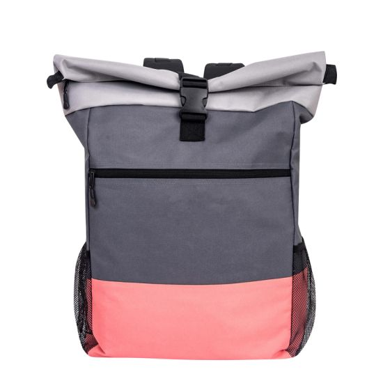 Rolltop Multicolor Polyester Pink Backpack Bag Men & Women I Daypack with Laptop Compartment 20 L to 30 L Ideal for School, University, Job, Travel and Sport