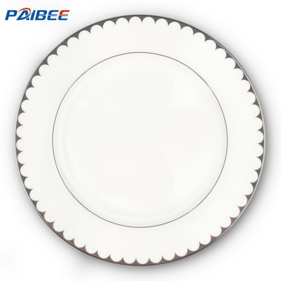 Paibee Charger Plate A Grade Dinnerware Ceramic Bone China Wedding Party Rental Gold Rim Plate