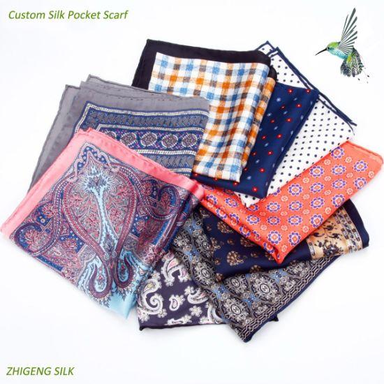 Custom Design Screen Difital-Printing Men Pocket Silk Scarf