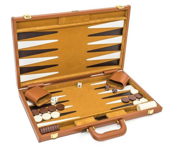 Personalized PU Leather Wooden Backgammon Checkers Set Table Game Backgammon