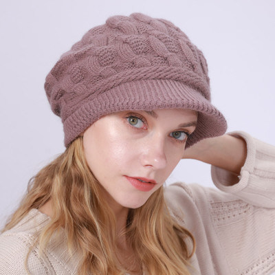 Trendy Stylish Women Winter Warm Knitted Hat Wool Cap With Visor Brim