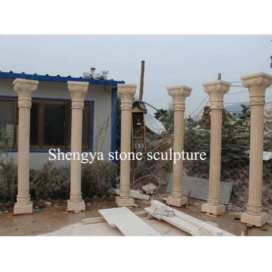 Beige Stone Sculpture Marble Column (SY-C022) pictures & photos