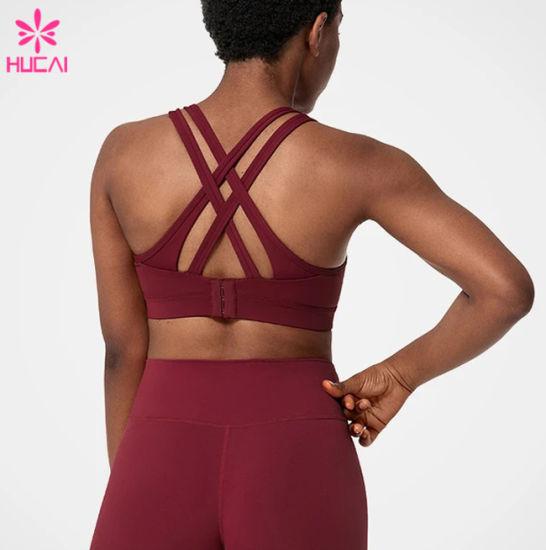 Custom Printed Body Building Sexy High Impact Sports Yoga Bra