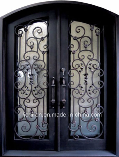 China 2018 Factory Direct Eyebrow Security Wrought Iron Entry Door