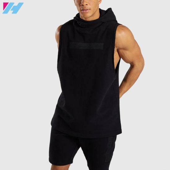 Men Wholeasale Custom Men Pullover Drop Arm Sleeveless Hoodies