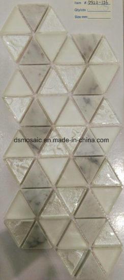 China Diamond Shape Glass And Marble Stone Mosaic Tile China Glass - Diamond shaped tile flooring