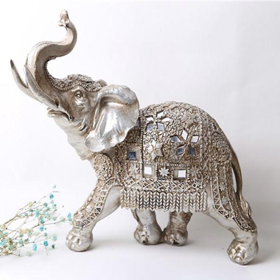 Wholesale Tabletop Resin Sliver Walking Elephant Statue Decoration Home Decoration