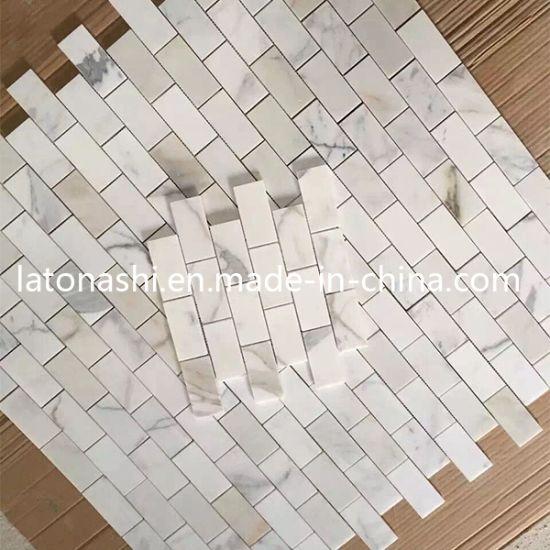 Wholesale Bianco Carrara Mosaic Stone, White Marble Polished Mosaic Tile